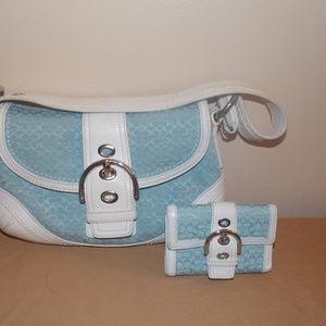 Coach Soho Signature Blue/White Bag & Wallet Set